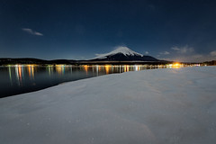 Under the Moonlight (Yuga Kurita) Tags: travel winter lake nature japan landscape fuji mt mount fujisan snowscape fujiyama yamanaka yamanakako