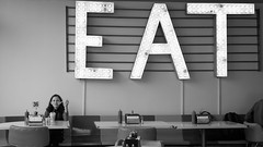 Eat Sign Diner (sarahbethsmithphotography) Tags: blackandwhite restaurant fastfood streetphotography diner eat tacoma milkshake vintagestyle ttown shakeshakeshake stadiumdistrict marqueesign litupsign