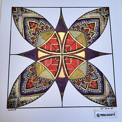 Square Mandala in Gold, Red, Purple and Yellow (marusaart) Tags: red art yellow illustration gold sketch artist purple drawing mandala doodle ornament zen draw copic zentangle zendala marusaart