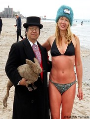 Dr. Takeshi Yamada and Seara (Coney Island Sea Rabbit) at the winter swimming event by the Coney Island Polar Bear Club at the Coney Island Beach in Brooklyn, New York on January 17 (Sun), 2015.  mermaid.  20160117Sun DSCN3454=0015pC2. Adrienne Adams (searabbits23) Tags: winter ny newyork sexy celebrity art beach fashion animal brooklyn asian coneyisland japanese star yahoo costume tv google king artist dragon god cosplay manhattan wildlife famous gothic goth performance pop taxidermy cnn tuxedo bikini tophat unitednations playboy entertainer samurai genius donaldtrump mermaid amc mardigras salvadordali billclinton hillaryclinton billgates aol vangogh curiosities bing sideshow jeffkoons globalwarming takashimurakami pablopicasso steampunk damienhirst cryptozoology freakshow barackobama polarbearclub seara immortalized takeshiyamada museumofworldwonders roguetaxidermy searabbit ladygaga climategate