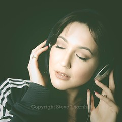 Lisa (;-) SHAGGY) Tags: light music sexy girl beautiful beauty face look female hair cool eyes hands closed head lips now phones sporty tracky