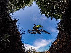 lets be free! (Juan Miko Photo) Tags: sky mountain nature contrast jump free downhill dh mtb stump be jumper biker miko xs stumpjumper byke gopro flickrheroes xsnation flickrheroes