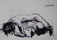 Crculo de Bellas Artes (GimBo AkimBo) Tags: madrid people texture painting nude print sketch drawing cartoon surreal figuredrawing acuarela pintura cba circulodebellasartes femalefigure crculodebellasartes apunte crculodebellasartesmadrid