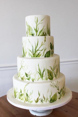 Green Foliage Painted Wedding Cake