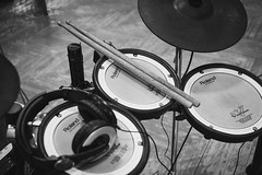 Play the drums (freestocks.org) Tags: blackandwhite bw music drums blackwhite sticks percussion roland instrument headphones electronic
