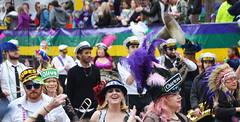 Les Dames de Perlage walk with a brass band - Krewe of Tucks parade (Monceau) Tags: walking women colorful neworleans parade mardigras beadwork streetnames kreweoftucks damesdeperlage