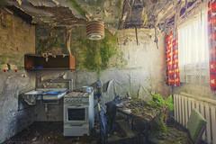 Heute bleibt die Küche kalt (klickertrigger) Tags: old sun sunlight abandoned broken window kitchen architecture moss chair desk furniture decay curtain sunny stove urbanexploration ddr dust destroyed gdr decayed ue urbex