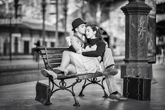 The Kiss (vitormurta) Tags: street portrait people white black love canon vintage project photography kiss couple 85mm romance lovers vitor the murta 5dmarkiii