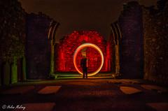 Glendalough 28Feb16 1 (Helen Mulvey) Tags: longexposure light night painting ruins with circles tuesday photowalk wicklow twitter glendaough dublinphotographyschool