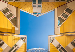"""T"" (80D-Ray) Tags: blue houses sky lines yellow architecture triangles rotterdam cubes cubehouses"