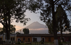 Volcan Agua, as seen from La Merced Church, Antigua, Guatemala (Miche & Jon Rousell) Tags: street architecture volcano agua arch guatemala antigua baroque santacatalina volcanagua