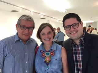Curator Jose Antonio Navarrete with artist Carola Bravo and banker Gonzalo Segnini at Durban Segnini's reception for Botero.