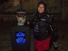 WaterFire Ambassador, Chantal Roche, welcoming visitors. Thanks for your support!