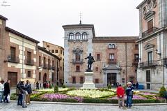 Plaza de la Villa... (Leo ) Tags: madrid plaza flores arquitectura gente escultura urbana jardn piedra plazadelavilla