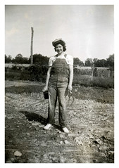 The Farmer's Daughter (vintagesmoke) Tags: bw woman girl monochrome rural vintage found photo cigarette bib snapshot daughter smoking overalls farmer