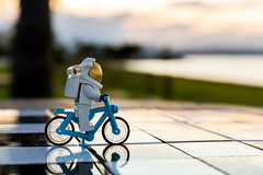 Biking to the moon (Ballou34) Tags: moon bike canon toy toys photography eos rebel flickr lego stuck space plastic suit chessboard afol 2016 minifigures toyphotography 650d t4i eos650d legography rebelt4i legographer stuckinplastic ballou34