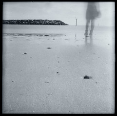 farewell (this fleeting life) Tags: ocean bw beach pinhole farewell goodbye dianaf seashore ilfordfp4plus homedeveloped