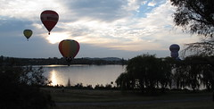 Hotair balloons approach west basin besde the bike path (spelio) Tags: water festival mar hotair balloon australia canberra act 2016 lakeburleygriffin
