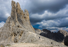 Vajolet Towers (Fabio.Lotti) Tags: travel wild summer italy panorama sunlight mountain holiday mountains alps tourism nature rock stone emblem landscape site amazing italian cabin scenery europe european view natural bright symbol outdoor top awesome famous scenic peak icon unesco alpine scree chalet shelter mountainhut dolomites masterpiece worldheritage refuge vigodifassa trentinoaltoadige mountainchain vajolettowers fassavalley rosengartengroup