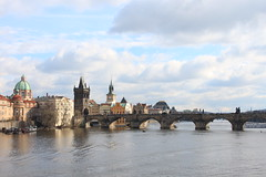 sunny day - prague (Catherine Q Li) Tags: city bridge sky cloud building water river czech prague outdoor sunny