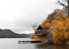 Knotts End Boathouse (mikedenton19) Tags: park trees lake colour building leaves pier district national end boathouse knotts selective ullswater