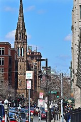 Church of the Covenant (AntyDiluvian) Tags: street church sign boston skyline massachusetts steeple spire southend backbay churchofthecovenant berkeleystreet