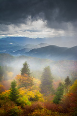 Art of Autumn (johanhakanssonphotography) Tags: life travel blue autumn trees light sky mist mountain storm mountains art fall nature colors beauty rain fog clouds forest magazine print landscape outdoors photography highlands moments glow outdoor fine scenic daily canvas ridge national parkway thunderstorm nantahala johan ridges appalachians hakansson cowee