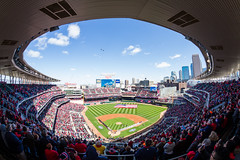 Opening Day 2016 (Icedavis) Tags: white chicago field minnesota airplane major twins downtown day fighter baseball stadium sox jet minneapolis opening mn flyover league 2016