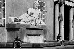 Turin, a day of May of some years ago. (Giangaleazzo) Tags: life two people italy monument monochrome statue river torino monocromo nikon child fiat noiretblanc monumento bn dora piemonte turin statua piedmont biancoenero coolpixp7100