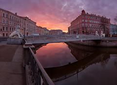 Saint Petersburg: Bridge of Four Lions (alexxdarkside) Tags: morning saint sunrise petersburg lions