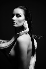 Eve (BQM 'Graphies) Tags: new eve blackandwhite woman white black france beauty studio nude model artistic expression snake python serpent