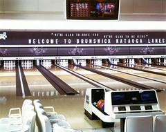 Brunswick Watauga Lanes ([jonrev]) Tags: color architecture vintage ball logo design early alley 2000 exterior interior center images brunswick historic corporation return bowling billiards recreation decor 1980s promotional a2 1990s scoring imagery lanes centers letterboard tenpins as86