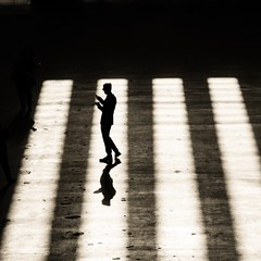 ** (donvucl) Tags: blackandwhite london texture silhouette shadows phone tatemodern squareformat figure donvucl olympusem1