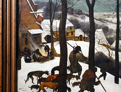 Bruegel the Elder, Hunters in the Snow (Winter), detail with inn