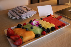 fruit gift at Vegas hotel (travellight21) Tags: vegas summer food fruit hotel strawberry colorful berries blackberry yum lasvegas watermelon delicious blueberry gift pineapple raspberry roomservice cantaloupe fresa