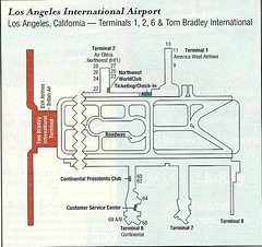 America West LAX diagram, November 2001 (airbus777) Tags: 2001 airport map terminal diagram lax awa americawestairlines losangelesinternational