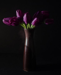 Vase & Valentine Flowers (Jo- Brilliant Sun and Mid 60's Today!) Tags: flowers brown purple tulips vase lowkey wk6 theygotogether theflickrlounge
