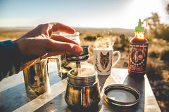 Breakfast at the Cactus Patch (The Noisy Plume) Tags: camping camp newmexico southwest coffee desert brew