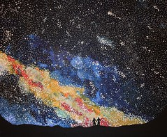 Up there in the Milky Way - acrylics on canvas, 50cm x 60cm (Artist - Painter - Photographer) Tags: life above sky love me up stars heaven you space ciel dreams rey there everything nothing nutshell toiles emmanuelle rves emmanuellerey