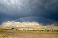 Desert, Utah (UW1983) Tags: up utah trains unionpacific rainbows railroads stormlight desertrailroading