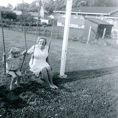 Trudy Schol (haunted snowfort) Tags: family ontario canada vintage grandmother antique niagara swing lincoln oldphoto swingset cathy 1960s trudy granma oldfamilyphoto schol beamsville niagararegion trudyschol