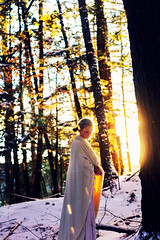 A Traveler in Winter (Lulumière) Tags: winter light sunset portrait woman snow nature girl forest self golden magic young queen narnia blanket goldenhour lululovering