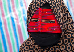 a bandari woman wearing a traditional mask called the burqa at panjshambe bazar thursday market, Hormozgan, Minab, Iran (Eric Lafforgue) Tags: red portrait people woman horizontal closeup outdoors persian clothing asia veil mask iran muslim islam religion hijab culture persia headshot hidden covered iranian bazaar adults adultsonly oneperson traditionaldress burqa customs ethnicity middleeastern sunni burka chador balouch hormozgan onewomanonly lookingatcamera burqua  bandari  embroidering 1people  iro thursdaymarket  minab colourpicture  borqe panjshambebazar boregheh iran034i2632