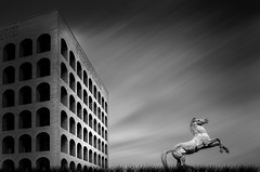 EUR Revisited (Massimo Cuomo Photography) Tags: bw white black rome roma architecture clouds nikon long exposure shift stop filter nd 24 16 tilt eur palazzo quadrato colosseo d800 lavoro tiltshift civilt samyang firecrest formatthitech