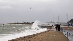 Stormy Stokes Bay Seafront 1 of 3 (fstop186) Tags: road sea wild people seascape storm wall landscape high dangerous closed waves candid silhouettes stormy olympus spray blocked henry solent imogen winds walkers breaking crashing flooded gosport splashing em1 olympusmzuikopro1240mmf28