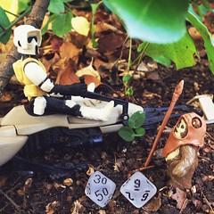 39 (jere7my) Tags: dice miniatures starwars backyard waiting ewok actionfigures premiere countdown 39 artproject wicket endor scouttrooper speederbike percentiledice theforceawakens tfacountdown