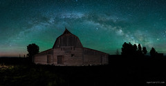 Moulton Barn Milky Way (Sergio Garcia Rill) Tags: wood panorama usa mountain night barn us nationalpark nightscape unitedstates nps pano moose panoramic nightsky wyoming nationalparkservice grandteton milkyway grandtetonnationalpark 2015 gtnp mormonrow moultonbarn johnmoultonbarn findyourpark