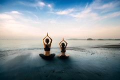 Yoga (Patrick Foto ;)) Tags: ocean family sunset sea summer sky people woman baby beach nature girl childhood silhouette sport yoga female pose mom relax asian fun thailand outdoors happy kid healthy energy day child adult exercise little daughter young mother lifestyle happiness doing parent health together meditating meditation concept activity relaxation th changwatkrabi tambonaonang