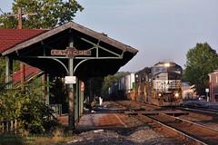 NS 6796, wb 21J, Latrobe, PA. 9-15-2015 (jackdk) Tags: railroad station train ns railway locomotive 21j cr norfolksouthern conrail emd sd60m sd60 latrobepa trailertrain emdsd60m emdsd60 pittsburghmainline