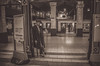 Waiting on Platform 5 (sophie_merlo) Tags: city london monochrome station businessman sepia train underground model time transport tube models style trains retro londonunderground londontube bakerstreet gent gentleman malemodel dapper blackmodel citygent